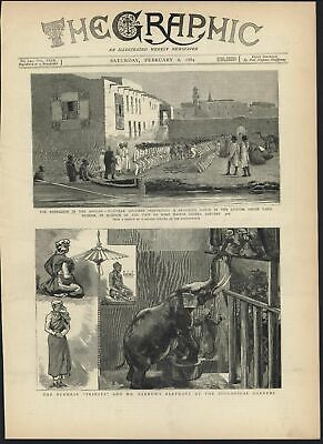 Burmese Priest White Elephant Zoo Sudan Africa 1884 antique wood engraved print
