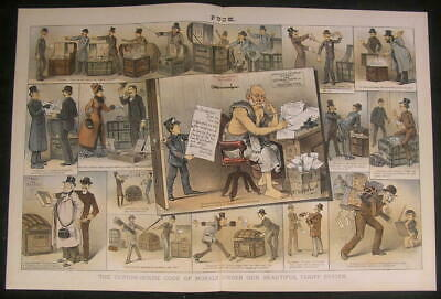 Corrupt Custom House Lack of Moral Code 1885 antique color lithograph print