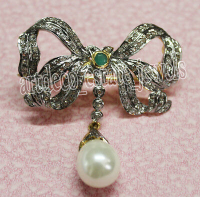 2.20cts ROSE CUT ROUND DIAMOND EMERALD & PEARL .925 STERLING SILVER BROOCH