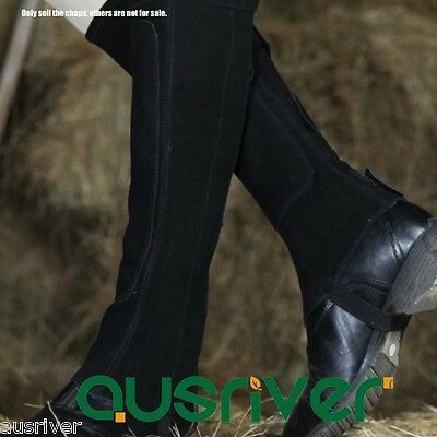 Suede Unisex Black Horse Riding Chaps Soft Synthetic Quality Equestrian Clothing
