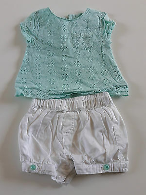 Baby girl top and shorts set - 3-6 months