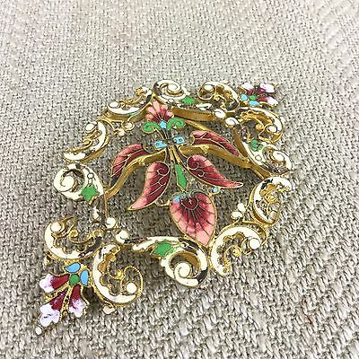 Antique Belt Buckle Ladies Enamel Art Nouveau Ornate  Fancy Enameled Vintage Vtg