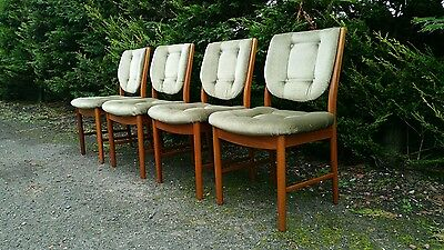 Vintage Retro McIntosh Teak 4 Dining Chairs Mid Century Danish Styled 1970s