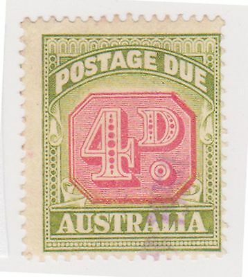 (K20-42) 1938-46 AU 4d green & red Postage Due centred down (F)
