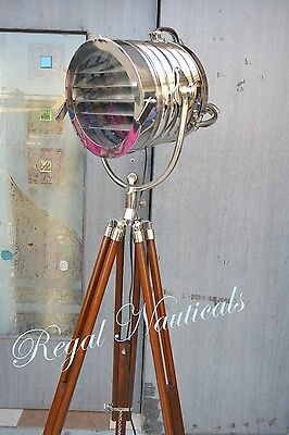 Chrome Vintage Industrial Designer Nautical Spot Light Tripod Floor Lamp Retro