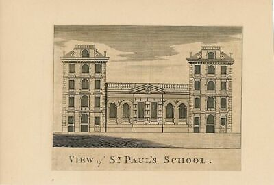St. Paul's School London fine 18th Century antique print