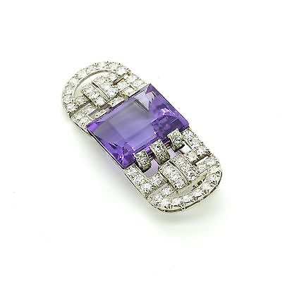 Antique Art Deco Marzo Brooch Pin in Platinum & White Gold Diamond and Amethyst