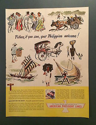 Vintage American President Lines, Ad, SEP 1946, Cruise Ships, Philippines