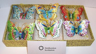 """Cloisonné  3"""" Wide Lot Of 6  Butterfly Ornaments From Smithsonian Store"""