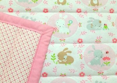 "HANDMADE, ""BUNNIES"", 34x43in, GIRLS, PINK FLANNEL BABY/TODDLER QUILTED BLANKET"
