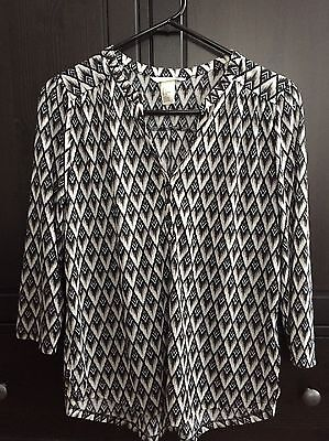 H&M Mid-Sleeve Blouse Black White Beige Women's Size S Small