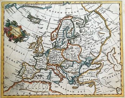 EUROPE, Thomas Jefferys original antique hand coloured map c1750