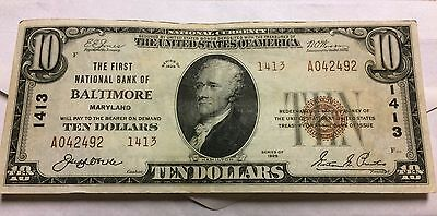Extremely Rare 1929 Type2 $10 National Bank Note Grade AU