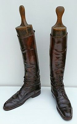Vtg Edwardian Bartley & Sons Brown Leather Military Riding Boots & Wooden Trees