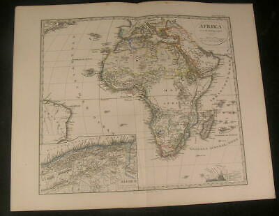 Africa Madagascar Nile River Egypt 1866 scarce issue of Stieler old vintage map