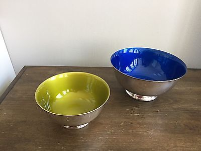 2 - Vintage Reed And Barton Silver Plated Bowls Green & Blue