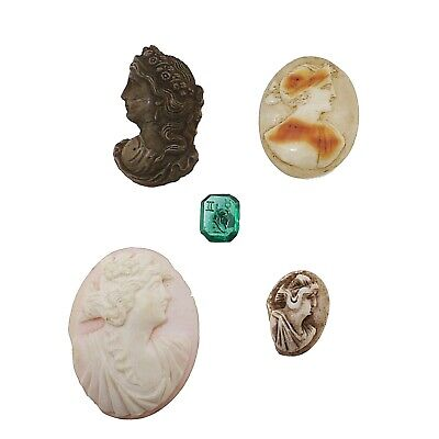 Group of 5 cameos, shell, glass, lava.