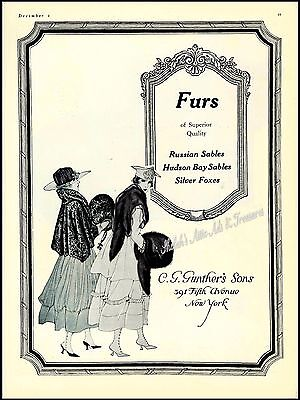 1917 Antique CG GUNTHER'S New York WOMEN'S FASHION FURS Plate VOGUE Vtg PRINT AD
