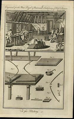 Polishing Stone Surfaces Applying Constant Pressure 1771 antique engraved print