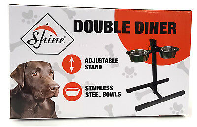 Stainless Steel Double Pet Dog Bowls Adjustable Height Stand Feeding Station