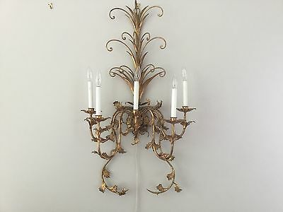 "1 Vintage French Gilt Tole Crystal Wall Sconces 39"" 5 light Wall Chandelier HUGE"