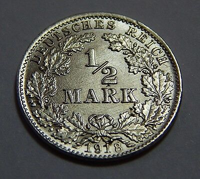 1918-D Germany Uncirculated  Silver 1/2 Mark Coin - Munich Mint
