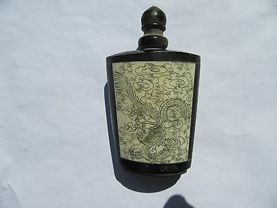 Old Chinese bone and blackwood snuff bottle