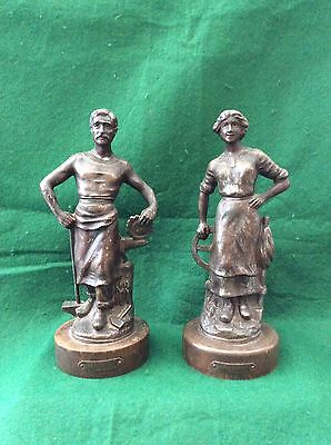 French bronzed spelter figures – Blacksmith and Weaver by A Rucho