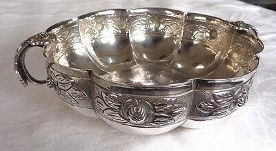Vintage Sanborns AZTEC ROSE REPOUSSE STERLING SILVER Footed BOWL