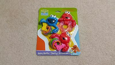 Sesame Street Beginnings Baby 3 Piece Rattle and Teether Hand Held Toy, New