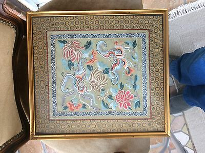 Antique. Chinese.  Micro. Embroidery. Framed