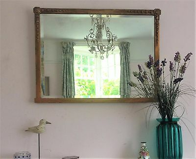 Antique Victorian/edwardian Gesso Giltwood Bevelled Wall/ Over Mantle Mirror