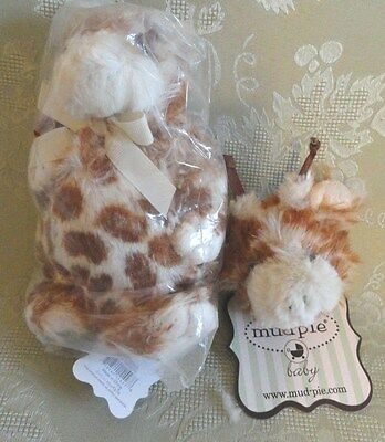 MUDPIE GIRAFFE SET: PLUSH TOY and PACIFIER PACI CLIP NEW UNUSED