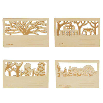 4pcs Hollow Novelty Greeting Postcard Wooden DIY Gift Card with Printed Cat