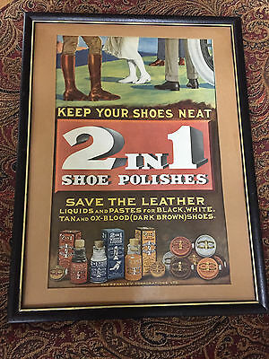 Framed Vintage Advertising 2 IN 1 SHOE POLISH AD BOOTS & LACES ART 1920's Ad