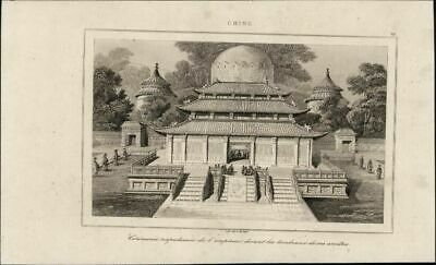 Temple Emperor Ceremony China 1853 charming antique engraved print