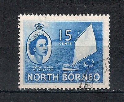 NORTH BORNEO; 1954 early QEII issue fine USED 15c. value -  BOATS- 4/49