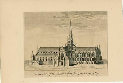 Cathedral in London before losing spire fine 18th Century antique print