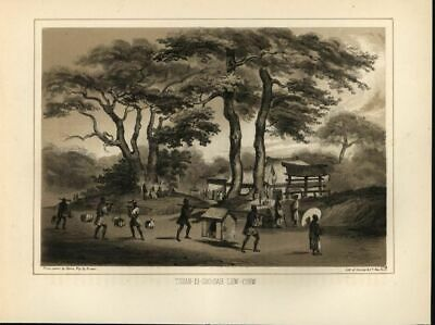 Japanese Carry Litter Umbrella Architecture 1857 antique color lithograph print