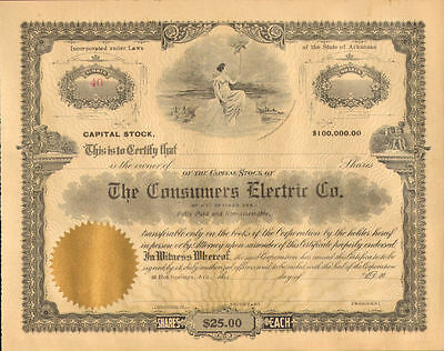 The Consumers Electric Co. of Hot Springs Arkansas stock certificates share