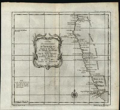 West Coast Africa Hottentot Angola c.1749 antique engraved map