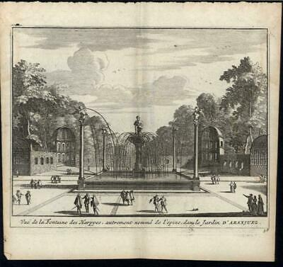 Beautiful Decorative Fountain Royal Palace Spain 1715 antique engraved print
