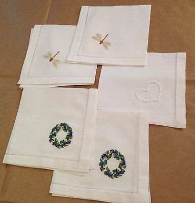 5 Vintage Embroidered Linen Napkins Dragonfly, Peonies Wreath and Heart