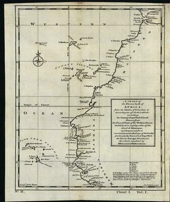 North West Africa Canary Islands Cape Verde Senegal 1745 antique engraved map