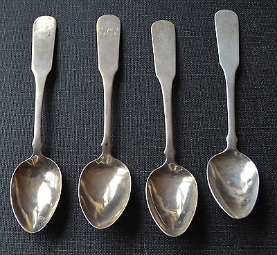 (4) Antique coin silver tea spoons, unknown maker STAR-EAGLE-STAR, mid-1800's