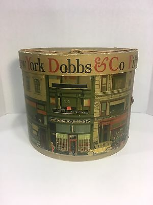 Medium Vintage Dobbs 5th Avenue New York Hat Box--Awesome Graphics