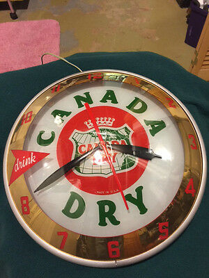 Vintage-ORIGINAL-Rare CANADA DRY Lighted Advertising DOUBLE BUBBLE Clock-No Pam