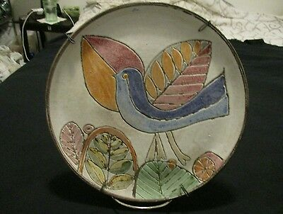Vintage Portugal Art Pottery Majolica/Sgraffito Hand Painted Plate, Signed