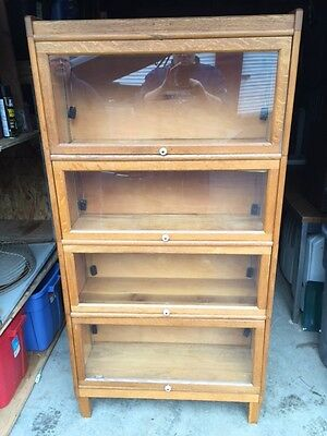Vintage Walnut Barrister Book Case Shelf Display 4 Sections