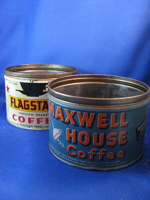 Two Vintage Coffee Tins-Maxwell House & Flagstaff- No Lids